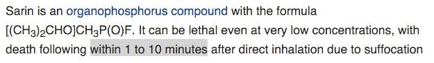 سرعت مرگ در اثر سارین