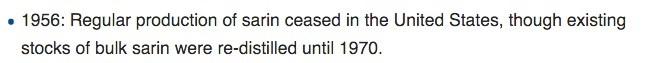 تاریخ پایان تولید سارین آمریکا اشتباه است.