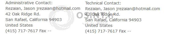 ایمیل و شمارهی تماس رضاییان در هنگام ثبت سایت.