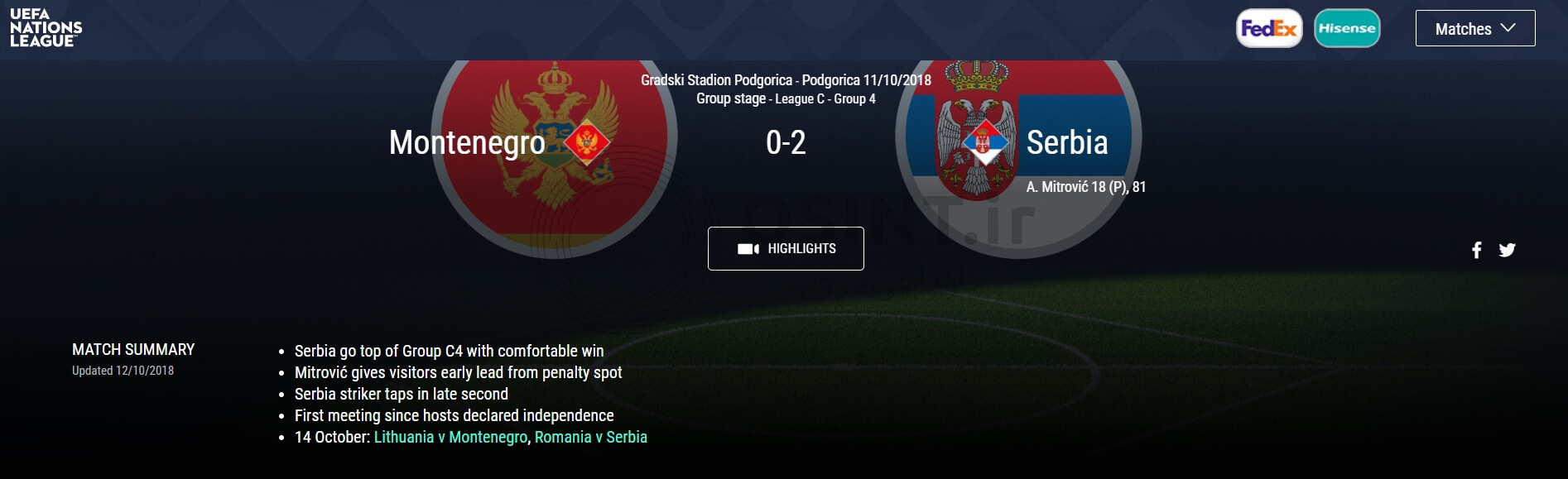 دیدار مونتنهگرو و صربستان