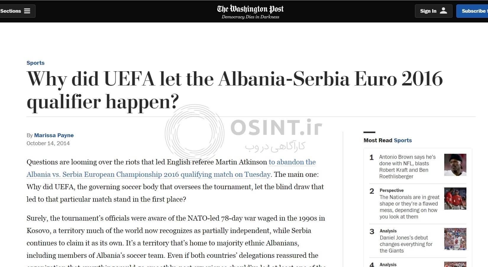 انتقاد از برگزاری دیدار صربستان و آلبانی