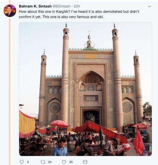 توییت کاربر درباره مسجد کارگیلیک