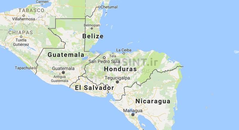 نقشه هندوراس و السالوادور