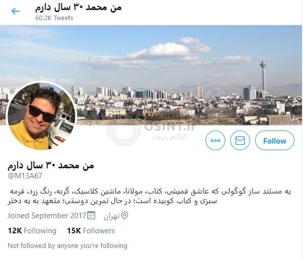 اکانت کاربر «من محمد 30 سال دارم»