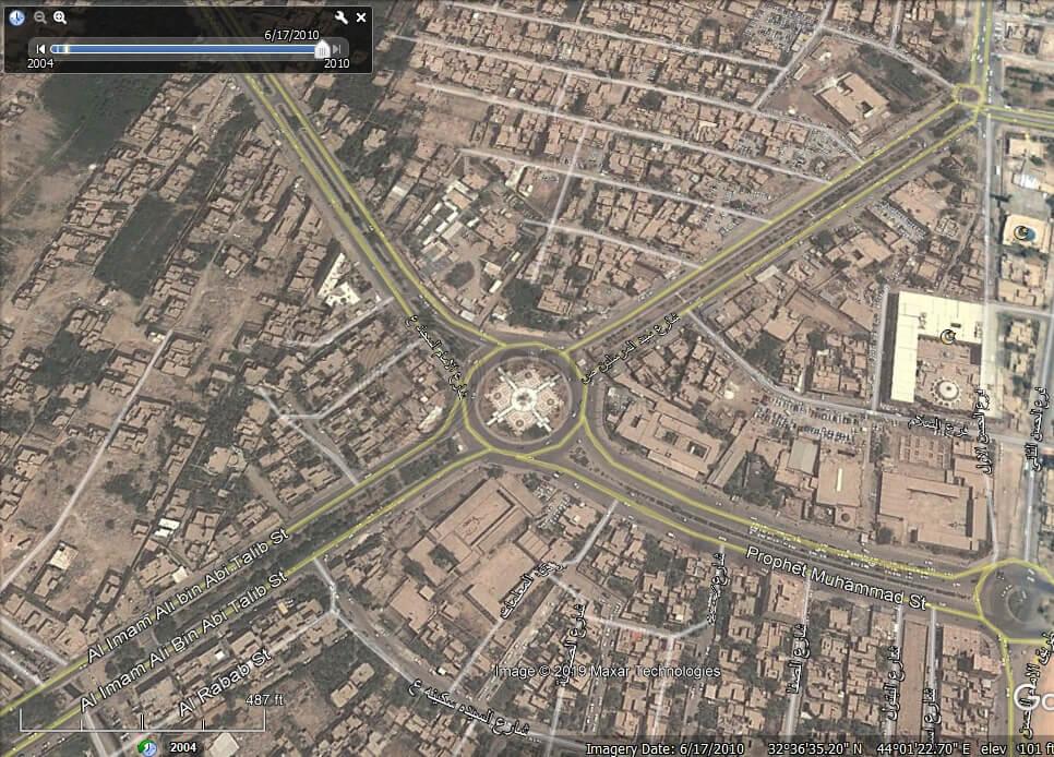 تصویر ماهواره ای میدان التربیه کربلا