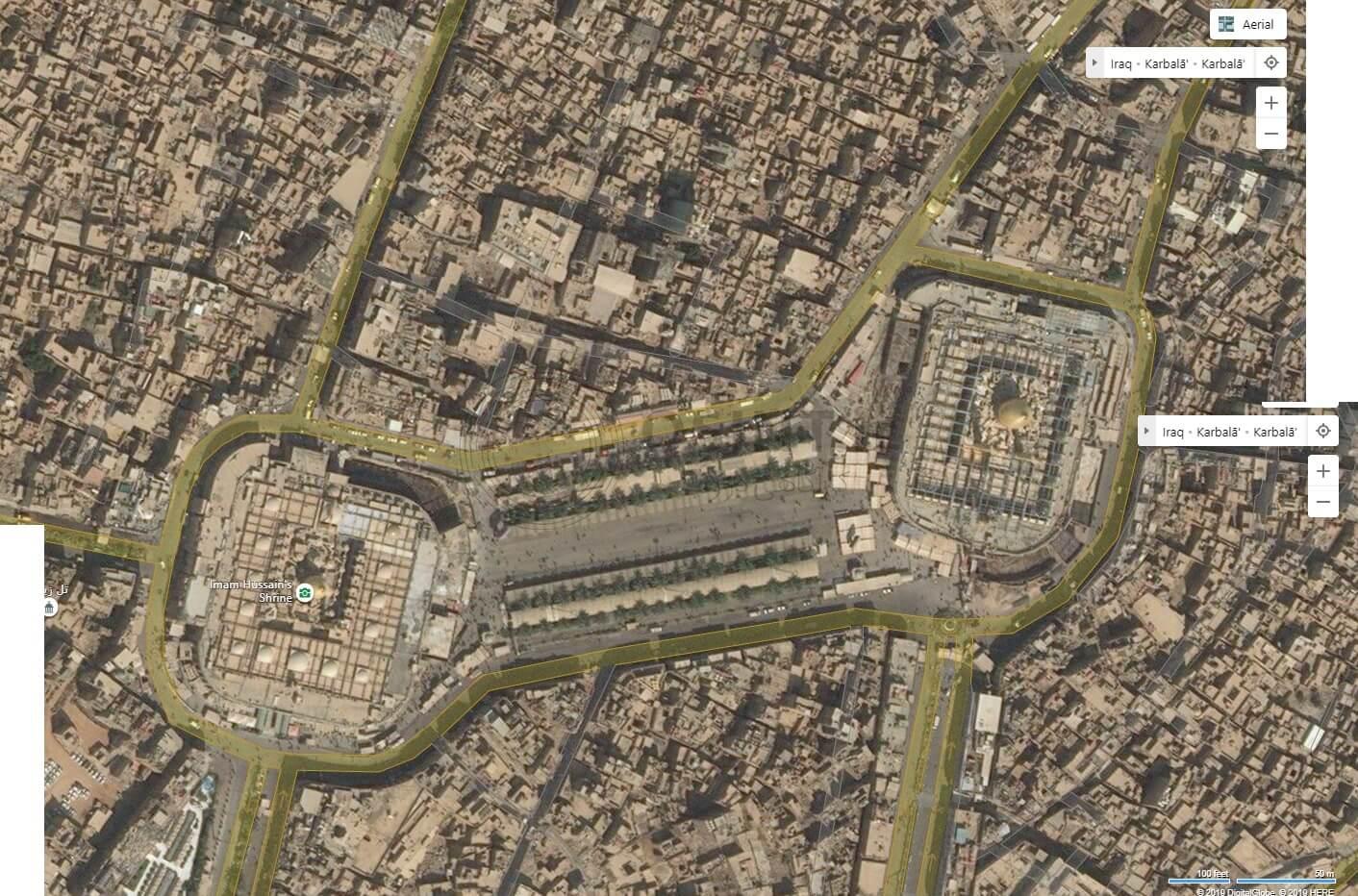تصویر ماهواره ای بینگ از بین الحرمین کربلا