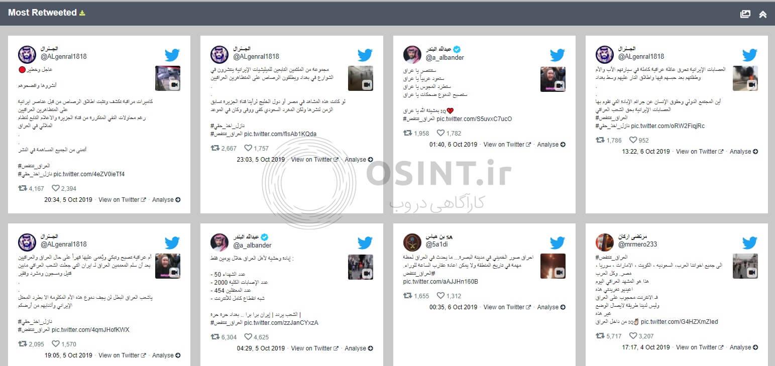 پر ریتوییت ترین توییت های هشتگ اعتراضات عراق
