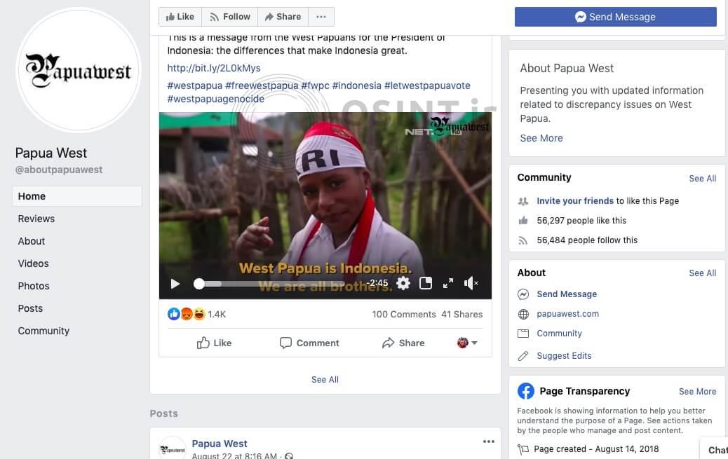 صفحه فیسبوک Papua West