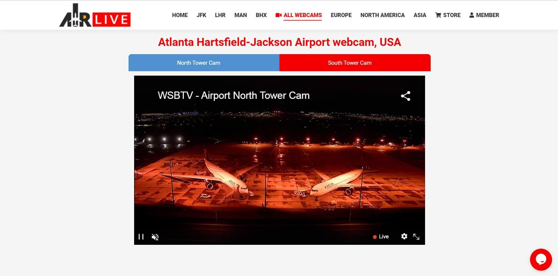 نمایش زنده فرودگاه شهر آتلانتا