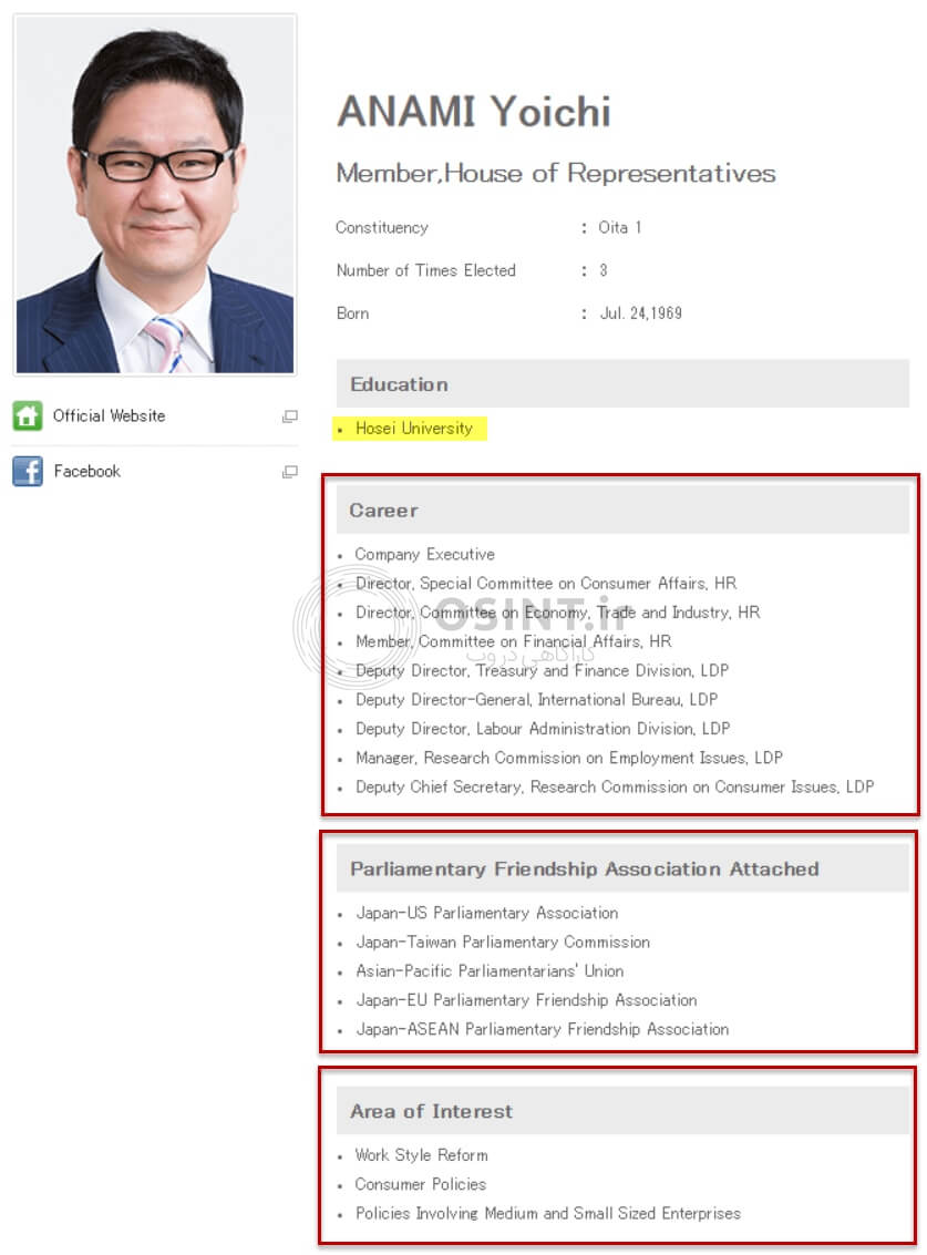 سوابق نماینده مجلس ژاپن