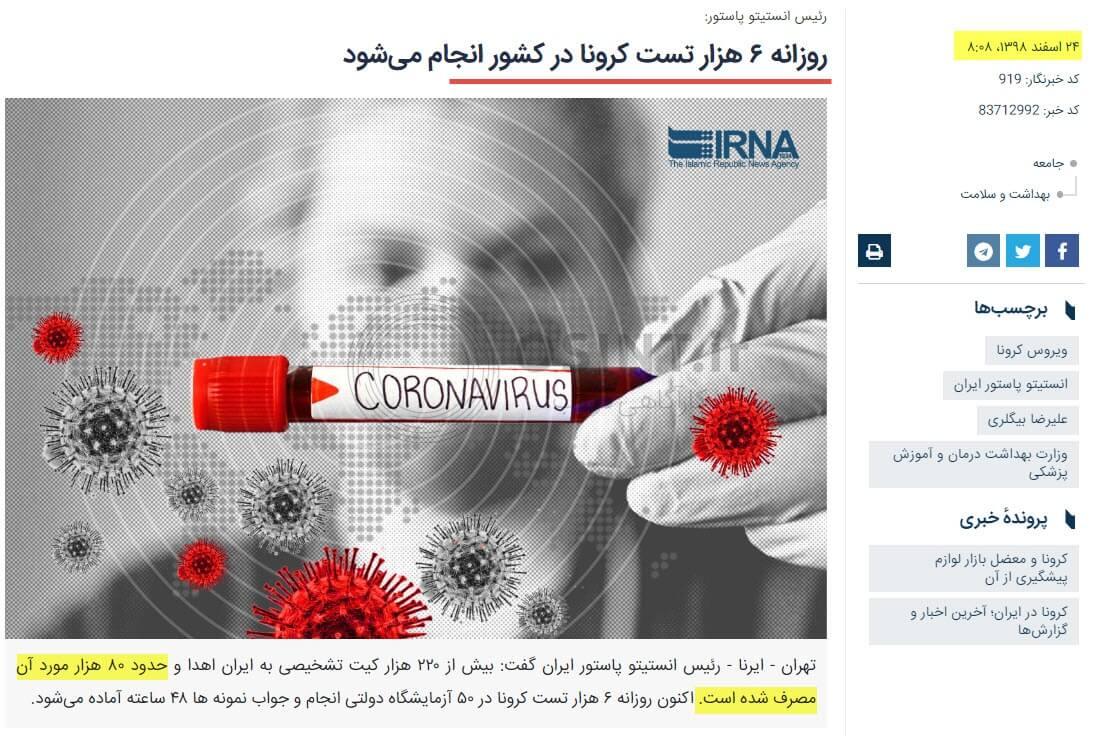 تعداد تست تشخیص کرونا در ایران