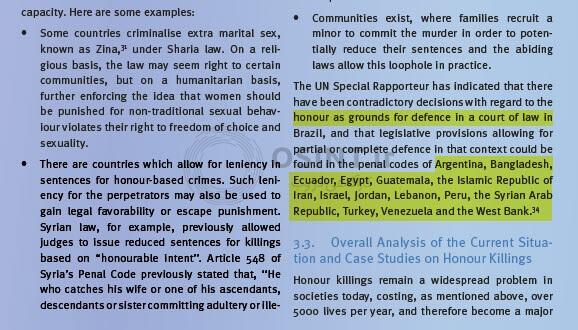 قانون قتل ناموسی در سایر کشورها