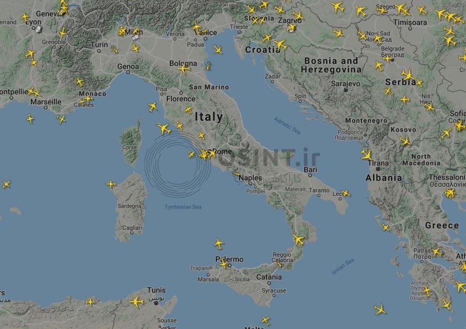 تصویر ترافیک هوایی در حوالی ظهر (منبع: Flightradar24)