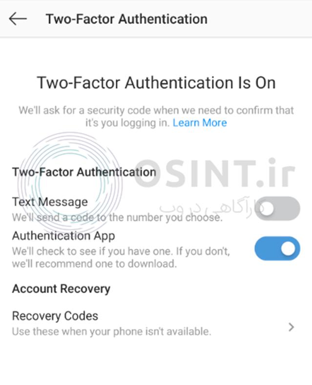 فعال کردن تایید هویت دو عاملی برای امنیت اینستاگرام